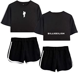 Flyself Billie Eilish New Album Two Pieces Set Casual Crop Top + Short Sets Running Tracksuit Sportswear Pajamas Yoga Suit...