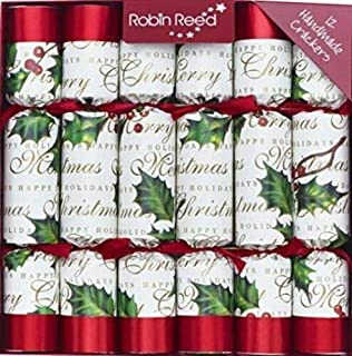 English Holiday Christmas Crackers, Pack of 12 - Bows and Berries, 10