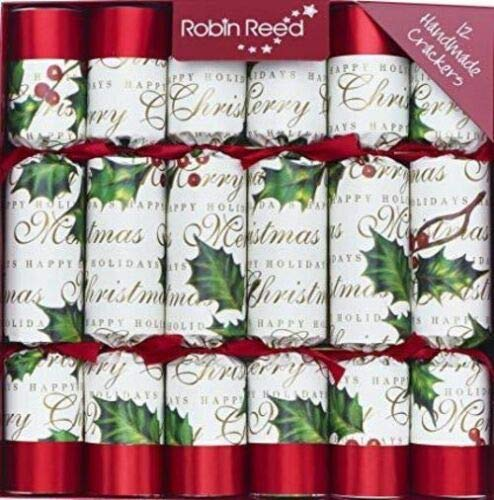 English Holiday Christmas Crackers, Pack of 12 - Bows and Berries, 10' Traditional w/Gift Box