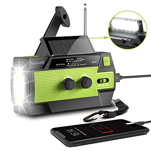 [2020 New Version] Emergency-Hand-Crank-Radio,4000mAh Portable Weather Solar Radios with Motion Sensor Reading Lamp,3 Gear LED Flashlight,SOS Alarm,Cell Phone Charger,AM/FM/NOAA (Green)