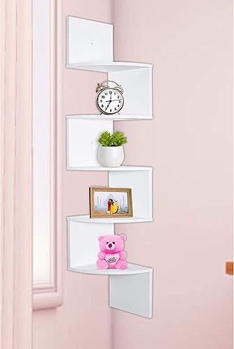 Aart Store Wooden Corner Zigzag For Home Decor Wall Decor Living Room Decor White Shelves