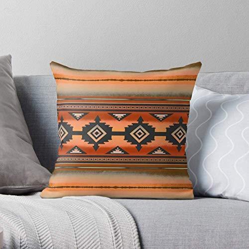 BONRI Tons Navajo Rouille Couleurs Terre Motif de Bordure Sarcelle amérindienne -Moderne décoratif et léger en Polyester Doux taies d'oreiller pour Chambre/Salon/canapé Chaise et Voiture 20×20in