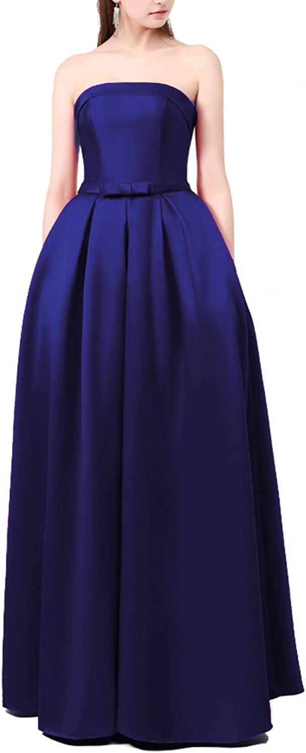 LEJY Strapless Long Prom Dress with Bow Satin Evening Dress with Pockets
