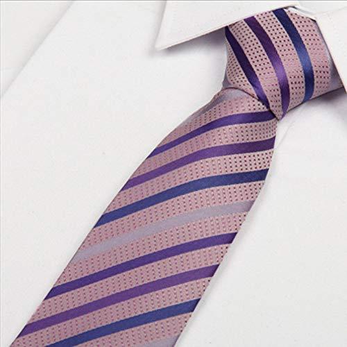 COLILI Seidenkrawatten Für Männer 8 cm Rosa Krawatte Lavendel Lila Blau Silber Gestreift