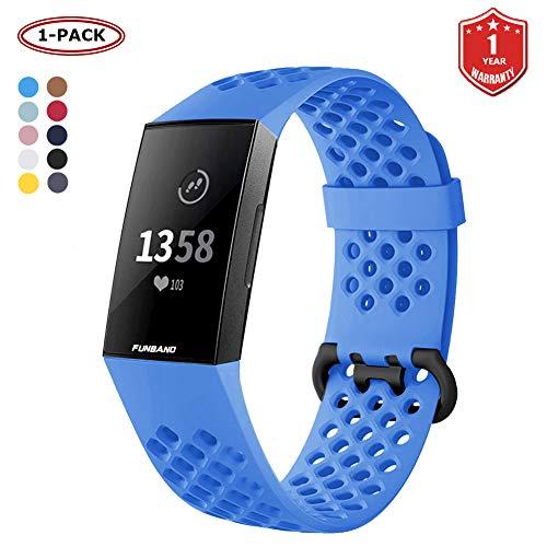 FunBand Fitbit Charge 3 Correa, Edición Especial Soft Silicona Deportes Recambio de Pulseras Ajustable Reemplazo Accesorios para Reloj Fitbit Charge 3 (1-Pack Azul,Tamaño Grande)