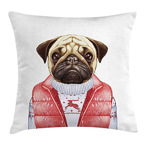 JIMSTRES Pug Throw Pillow Cushion Cover, Red Vest and Christmas Sweater on a Adorable Dog Hand Drawn Animal Fun Image, Decorative Square Accent Pillow Case, Pale Brown Red White 20x20 inches