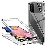 Cover per Xiaomi Poco M3, Silicone Trasparente 360 Gradi Full Body Protettiva Ultra Sottile 2 in 1 Anteriore e Posteriore Morbida TPU Antiurto Ai Graffi Bumper Custodia