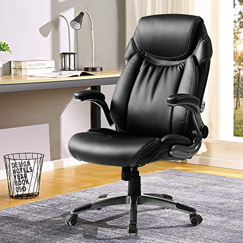 BERLMAN Ergonomic PU Leather High Back Office Chair with Flip-up Armrest Managerial Chair Executive Chair Desk Chair Computer Chair (Black)