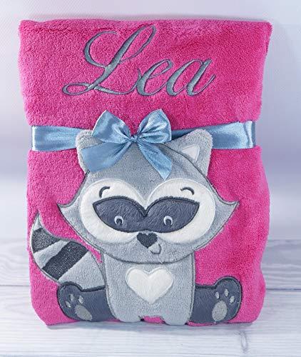 ★ Babydecke mit Namen und Datum bestickt ★ Baby Geschenke ★ Geburt ★ (Pink - Waschbär)