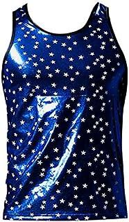 SONONIA 2PCS 男性 メンズ セクシー 下着 星柄 ベスト タンクトップ トップス ブルー