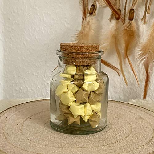 Origami Papier Sterne im Glas(S) Kaffee Creme, mit Korken handgemacht, Perfektes Geschenk, Dekoration, Farbkombinationen