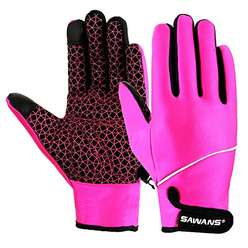 Cycling Gloves Winter Ladies Men Women Touchscreen Windproof Thermal Outdoor Anti-slip Gel Padded Mountain Bike Bicycle Gloves MTB Road Biking Sports (Pink, M)