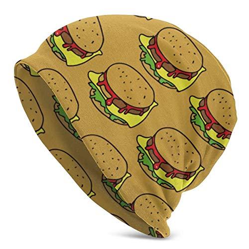 U Shape Hamburger Junk FoodUnisex Frauen Männer Slouchy Beanie Hat Übergroße Baggy Skull Cap Stretchy Strickmütze