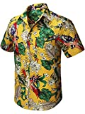 HISDERN Hombre Funky Hawaiian Floral Bird Camisas Manga Corta Bolsillo Delantero Vacaciones de Verano Aloha Impreso Playa Casual Amarillo Hawaii Camisa