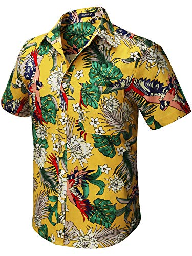 HISDERN Uomo Funky Hawaiana Floral Bird Camicie Manica Corta Tasca Frontale Vacanze estive Aloha Stampata Beach Casual Yellow Hawaii Shirt