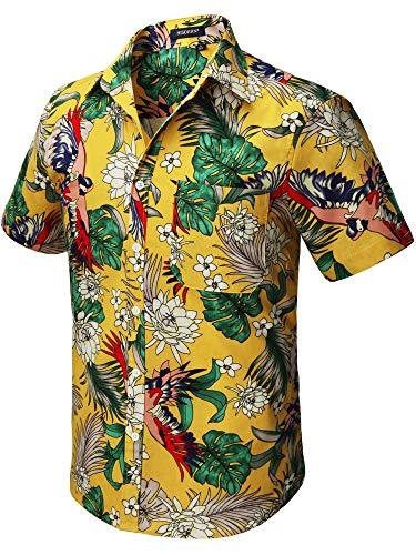 HISDERN Hombre Funky Hawaiian Floral Bird Camisas Manga Cort
