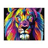 Chen Hao International Sales Store Creatividad Color Cabeza de león Pintura Abstracta de Bricolaje por números para Adultos niños Lienzo técnicas caligrafía Pintura Regalo de Boda Artes Decorativas-1