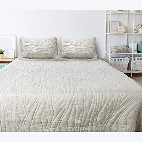 Lightweight Quilts Set Queen Size - Summer Bedding Set 3 Piece, Latte Bedspread Coverlet Sets - 1 Bedspread and 2 Pillow Shams, Summer Coverlet Bedding for Queen Size Bed, Machine Washable
