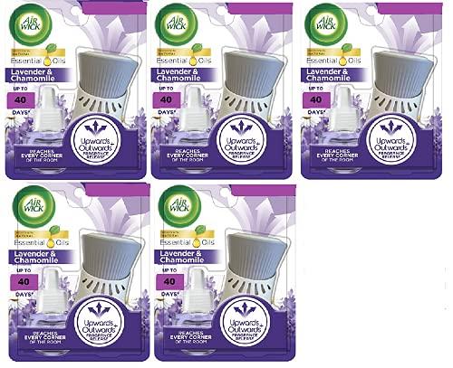 Air Wick - Juego completo de aceites esenciales de lavanda y manzanilla, 12 ml (5 unidades)