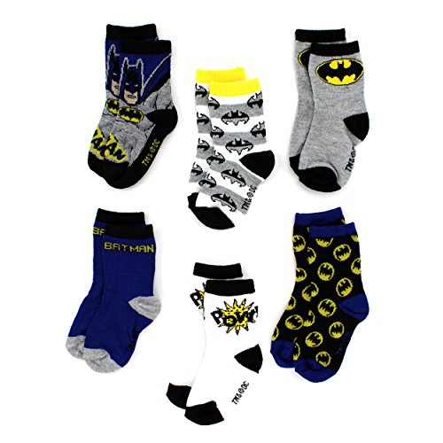 Batman Toddler 6 pack Crew Socks (3T/4T, Batman Pow!)