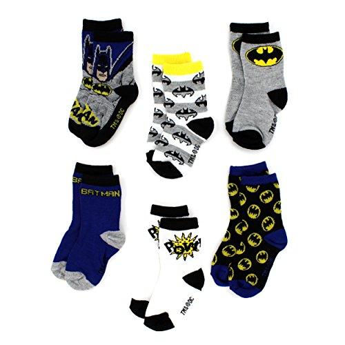 Batman Toddler 6 pack Crew Socks (3T/4T, Batman Pow!)