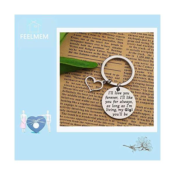 FEELMEM Gigi Keyring Grandma Gift I'll Love You Forever Keychain Gigi Jewelry for Grandmother Nana