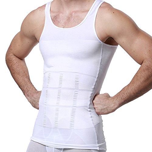 GKVK Mens Slimming Body Shaper Vest Shirt Abs Abdomen Slim,L(chest size 96cm-101cm/38inches-40inches),White