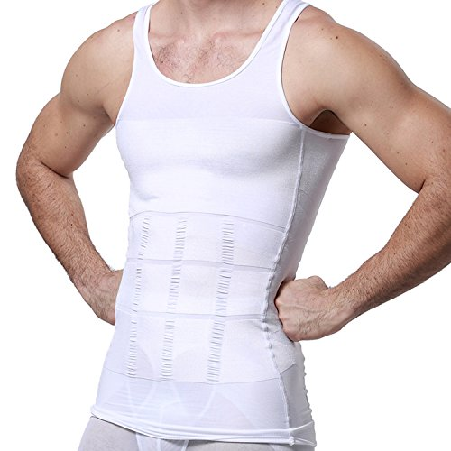 GKVK Mens Slimming Body Shaper Vest Shirt Abs Abdomen Slim,L(chest size 96cm-101cm/38inches-40inches),White