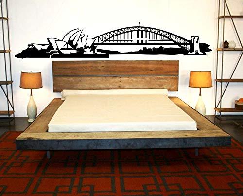 Australia Sydney City Skyline Landmark Building Opera House Harbour Bridge Vinilo Etiqueta de la pared Calcomanía Dormitorio Sala de estar Oficina Estudio Decoración para el hogar Mural