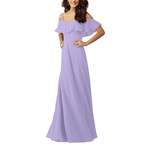 df5b5efc47802 Lafee Bridal Women's Off Shoulder Chiffon Bridesmaid Dresses Long Ruffles Evening  Gown