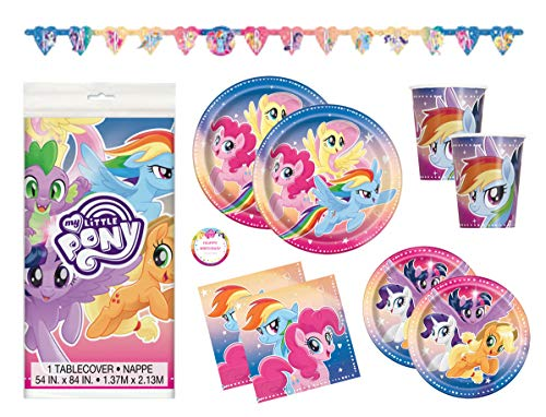 My Little Pony Birthday Party Supplies Set - Plates, Cups, Napkins, Tablecloth, Banner Decoration and Sticker