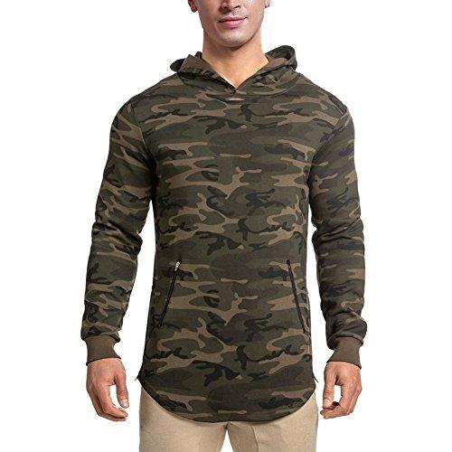 LANGCHEN Men's Gym Workout Hoodie Training Sports Pullover with Zipper Pockets Hoody Camo Medium