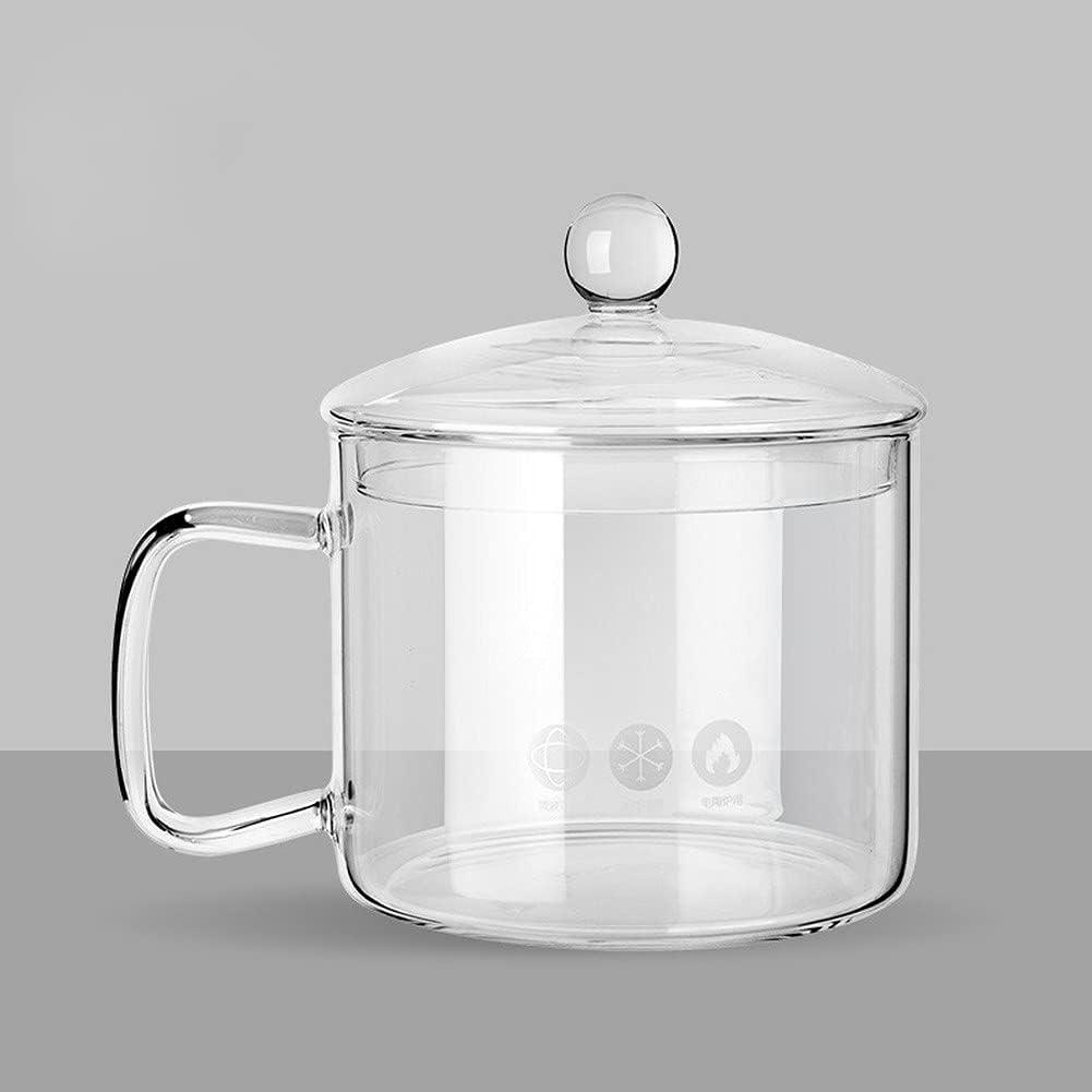 Tenbroman Cuenco de Vidrio de tamaño pequeño para Pasta con Tapa y asa, Cuenco de Sopa de Vidrio Transparente de 1 l / 1,4 l para Ensalada de Cereales Ramen, Apto para microondas, 1 Unidad (1L)