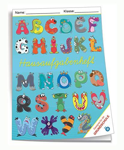Trötsch Verlag 201845N - Hausaufgabenheft DIN A5 für die Grundschule, Monster ABC, 96 Seiten, mit extra starkem Klarsichtumschlag