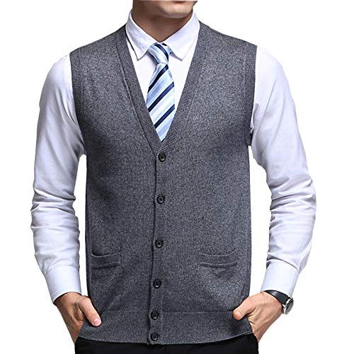 Flygo Men's Basic Solid V-Neck Wool Sweater Vest Knitwear with Button Front Pockets (Small, Light Grey)