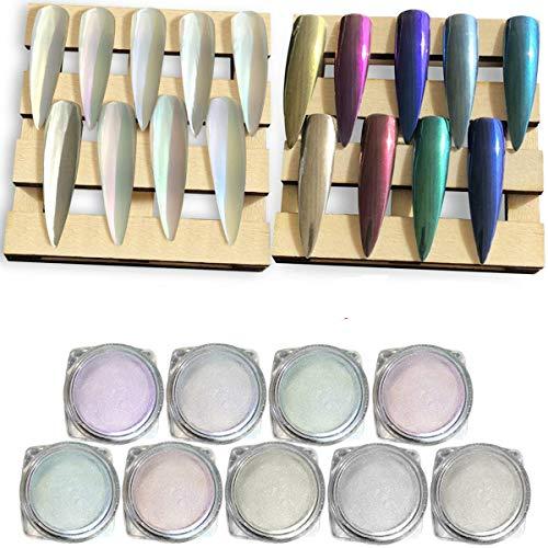 iMethod 9 Boxes Chrome Nail Powder - Super Chrome Powder Rainbow Pack, Premium Salon Grade Unicorn Pearl Powder & Metallic Nail Pigment for Mirror Nails, 0.04oz/ 1g Per Box
