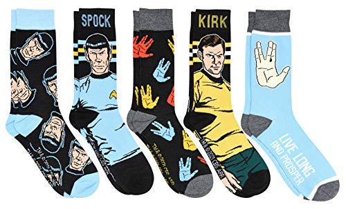Star Trek Kirk and Spock Live Long and Prosper Men's Crew Socks 5 Pair Pack