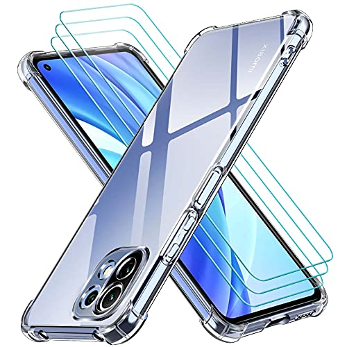 ivoler Klar Hülle für Xiaomi Mi 11 Lite 4G / 5G / NE mit 3 Stück Panzerglas Schutzfolie, Dünne Weiche TPU Silikon Transparent Stoßfest Schutzhülle Durchsichtige Kratzfest Handyhülle Hülle