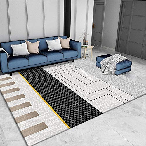 WQ-BBB Rugs Wear-Resistant home design Carpets Black gray gold brown geometric style decoration Non-slip mat kitchen carpet dosen't shed living room rugs 100X200cm