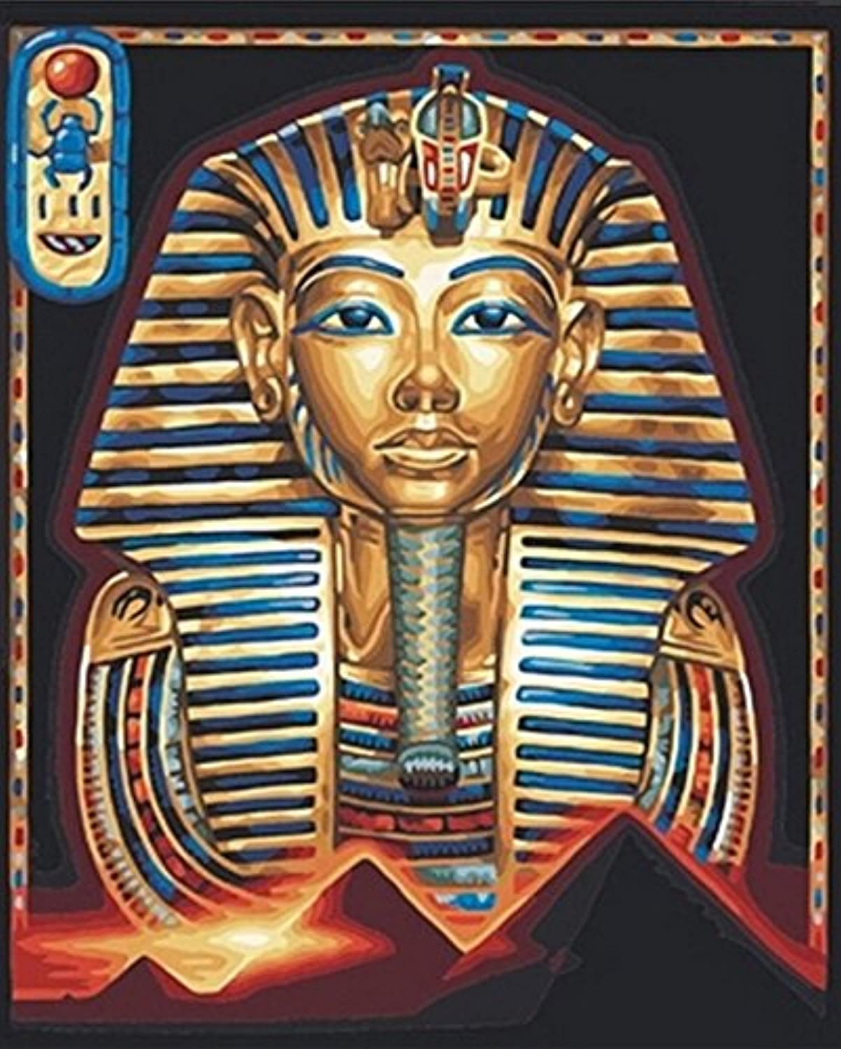 Yumeart 3D Diamond Painting by Number Pharaoh Mosaic Cross-Stitch Needlework Religion Egypt Icons Pictures 30x40cm(12x16