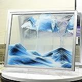 Imagen Arena Dinámica 3D, Pantalla Paisaje Natural Vidrio Cuadrado en Movimiento, Marco Arena Fluida, Juguete Relajante Artístico, Arte Escritorio en Movimiento,Azul,10 Inch
