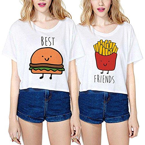 Best Friend Cotone Shirts Cartone Animato Coppia T-Shirt Sciolto Corta Stampa Manica Corta Maglietta Migliori AmiciGirocollo Estate Per Donna Moda Graphic Tumblr(Bianco,Best-M+Friends-S)