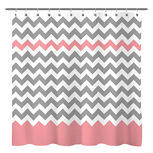 Sunlit Zigzag Pink and Grey White Chevron Shower Curtain