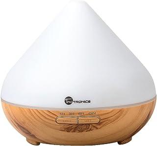 アロマディフューザー 加湿器 超音波 TaoTronics 七色LED 300mlタン 卓上加湿器 木柄 木目調 空焚き防止機能搭載 タイマモード 【一年間安心保証】 ミスト調整可能 TT-AD002 (白) (300ml)