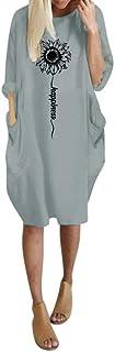 Gonna Vestito Abito Jumpsuit Mini Abito da Donna Pullover Tascabile Manica Lunga Oversize da Donna Maglione Estivo Lungo D...