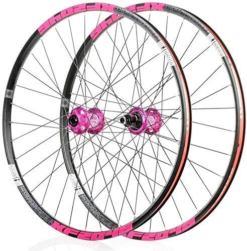 SOAR Wheel Mountain Bike Bike REAR Wheel 26' 27.5' 29' Mag Alloy Wheelset V- Brake/Disc Rim Brake 8,9,10,11, Speed Sealed Bearings Hub Quick Release 32 Hole (Color : Pink, Size : 27.5inch)