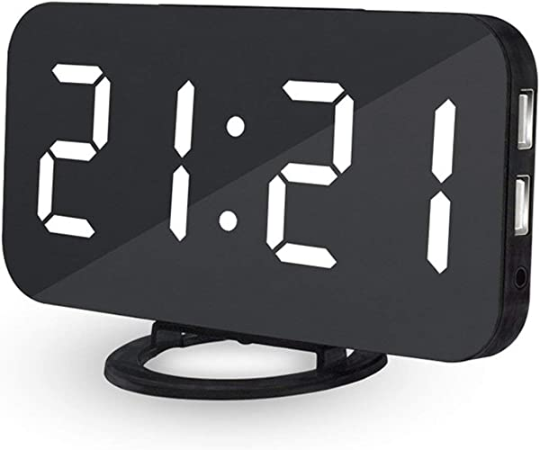 WMGS Ultra Thin Modern Snooze And Time Setting LED Digital Decorate Alarm Clock With Phone Charger For Home Decor WHITE