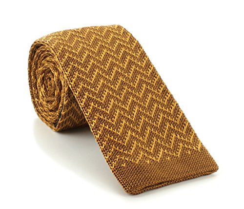 Michelsons of London Brown/or Zig Zag soie tricoté Skinny cravate de