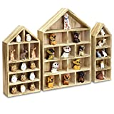 Ikee Design House-Shaped Wooden Shadow Cubby Box Display Shelf for Mini Toys Figures Storage Shadow Box Organizer, Set of 3, Oak Color, 10' W x 2 1/4' D x 15' H