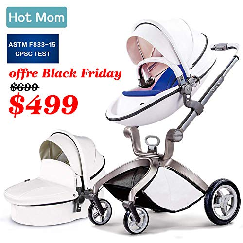 Baby Stroller 2020, Hot Mom Baby Carriage with Bassinet Combo,White
